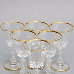 (6) Saint Louis Crystal Lozere Wine Glasses Vertical Cuts & Gold Rim