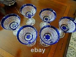 6 VAL ST LAMBERT Belgian Crystal Blue CUT TO CLEAR Goblets Champagne Sherbet