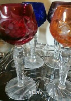 6 Vintage Bohemian Czech Crystal Cut to Clear 5-1/4 Cordial Sherry Stem Glasses
