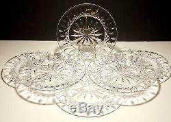 6 Waterford Crystal Lismore Deep Cut Irish 8 Luncheon Plates
