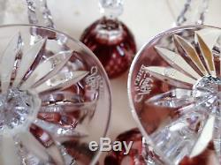 6 pcs AJKA MARTISA RUBY RED CUT TO CLEAR CRYSTAL CORDIALS GLASSES, SIGNED