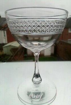 6 x FABULOUS ANTIQUE VICTORIAN CUT CRYSTAL CHAMPAGNE GLASSES/COUPES