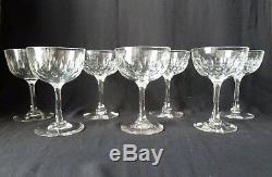 7 Antique Victorian/Edwardian Champagne Glasses, Lens Cut Crystal h12,7cm