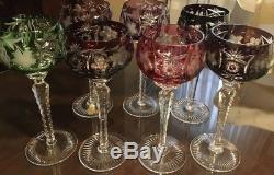 7 Glasses Hock Wine Genuine German Imperlux Lead Crystal Colored Hand Cut