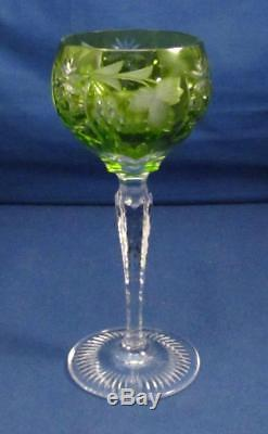 (8) Colors NACHTMANN Traube SIGNED Cut To Clear Crystal 7 Tall WINE Hock Glass