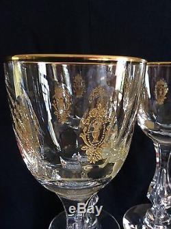 8 Vintage GOLD ENCRUSTED TIFFIN PALAIS VERSAILLES Cut Crystal WINE Glasses