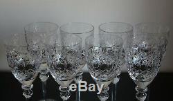 8 Vtg. Tall Rogaska Gallia Cut Crystal Water Goblets Stemware Signed 9 1/4
