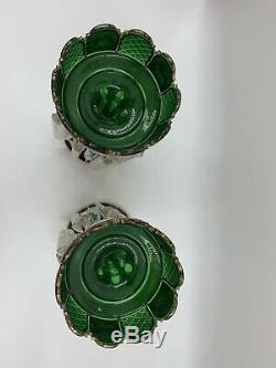 910239 Pair of Emerald Bohemian Overlay Lustre With Painted Floral and Gold & Cuts