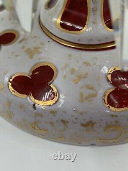 910586 Cranberry Over White Lustre With Prisms and Painted Gold Filigree