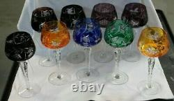 9 BOHEMIAN Hand Cut to Clear Colored Glass CZECH Crystal Hock Wine Glasses 8