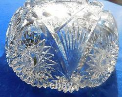 9 Vntg ABP Heavy Cut Lead Crystal with Star of David Pattern Fruit/Salad Bowl