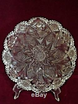 ABP American Brilliant Period HAWKES Cut Glass Crystal Shallow Bowl 10 Holland