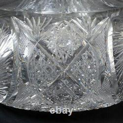 ABP American Brilliant Period Large Cut Glass Flower Center 10 Wide Hobstar