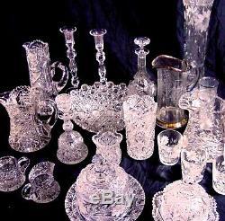 ABP Brilliant Cut Glass Crystal Liquor Wine Ewer Bottle Claret Jug Stars