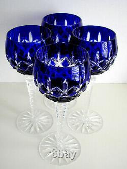 AJKA ARABELLA COBALT BLUE CASED CUT TO CLEAR CRYSTAL BALLOON WINE Set of 4