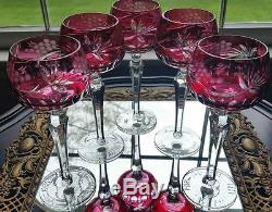AJKA CRANBERRY CUT TO CLEAR CRYSTAL WINE GOBLETS Set of 5 GORGEOUS