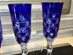 AJKA Cut To Clear Cobalt Blue Champagne Flutes 8 Pieces 4 Pair