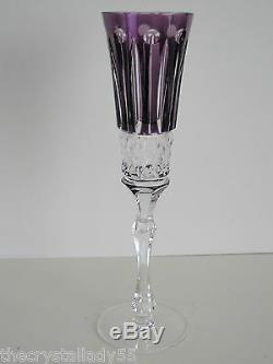 AJKA / FABERGE XENIA AMETHYST CASED CUT TO CLEAR CHAMPAGNE FLUTES Set of 2