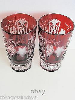 AJKA HUNGARY MARSALA RUBY RED CASED CUT TO CLEAR CRYSTAL HIGHBALL Set of 2