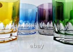 AJKA LAUSANNE WHISKEY DOF ROCKS MULTICOLOR CASED CUT TO CLEAR CRYSTAL Set of 4