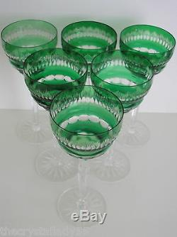 AJKA RONAI EMERALD GREEN CASED CUT TO CLEAR CRYSTAL WINE GOBLETS Set of 6