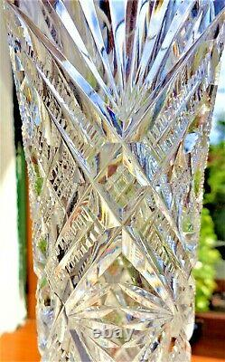 ANTIQUE 19thC BACCARAT HAND CUT CRYSTAL VASE SIGNED BRONZE DORE BASE 13 PERFECT