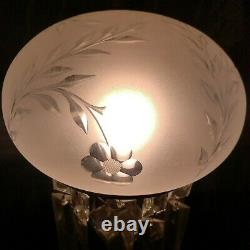 ANTIQUE AMERICAN BRILLIANT CUT GLASS CRYSTAL MUSHROOM SHADE LAMP With PRISMS