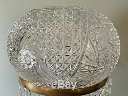 ANTIQUE AMERICAN BRILLIANT CUT GLASS CRYSTAL MUSHROOM SHADE LAMP With PRISMS 26
