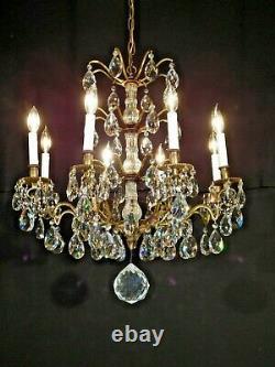 ANTIQUE French Glass Column 8 Arm 8 Lite Bronze Cut Lead Crystal Chandelier