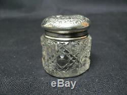 ANTIQUE MINIATURE CUT CRYSTAL DRESSER JAR / BOX, STERLING SILVER LID, c. 1900