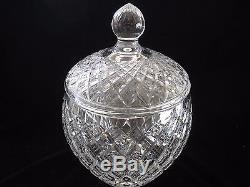 ANTIQUE WATERFORD CUT CRYSTAL PUNCH BOWL WithCOVER 13H, EXCELLENT CONDITION