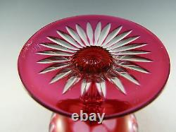 ANTIQUE Wine Glass Set of 6 Overlay Cut to Clear Cranberry Champagne Saucers