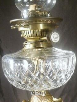 ANTIQUE c1880 BIG OIL LAMP ROSE MARBLE CUT CRYSTAL GLASS FONT hinks messengers
