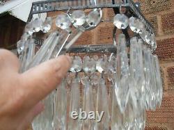 ART DECO 1930s 2 TIER HEXAGON WATERFALL CUT GLASS CRYSTAL CEILING CHANDELIER