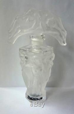 ART DECO Glass Flacon Crystal Czech Bohemian Perfume Bottle Hand Cut Nude Women
