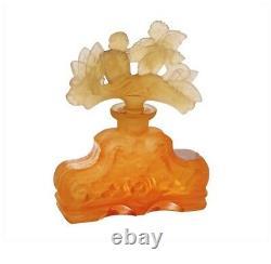 ART DECO Glass Flacon Crystal Czech Bohemian Perfume Bottle Hand Cut Orange