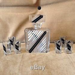 ART DECO KARL PALDA CZECH CRYSTAL GLASS CUT DECANTER SET 6 TUMBLERS 1930-s