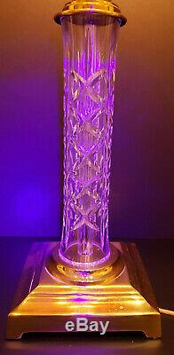 A Pair Waterford Crystal Lamps WithShade Kinsale (Cut)-Very Rare-Signed Glass