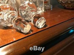 A pair of Stunning vintage Cut Crystal Decanters & Stoppers bourbon whiskey