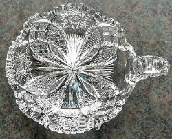Abp Hawkes American Brilliant Period Crystal Cut Glass Handled Nappy Dish Minty