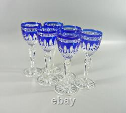 Ajka Clarendon Cobalt Blue Cased Cut To Clear Crystal Cordial Glass Set Of 6