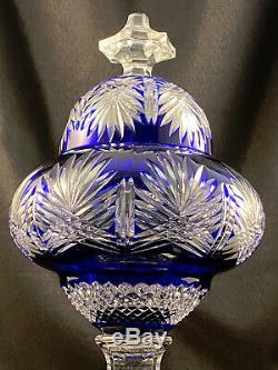 Ajka Cobalt Blue Cut To Clear Footed Urn Jar W LID Signed Magda Nemeth