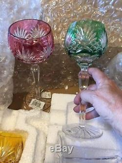 Ajka Crystal Wine Glasses Multi Color Cut to Clear Mint Set of 6 Made in Hungary