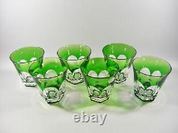 Ajka Emerald Green Cased Cut To Clear Lead Crystal Water Glass Set Of 6