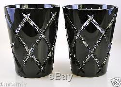 Ajka Hi Ball Whiskey Beverage Glasses, Black Onyx Cased Cut To Clear Crystal