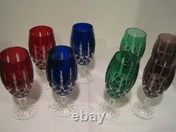 Ajka Hungary Arabella Cut Crystal Goblet Stemware Set of 8 Multi Color