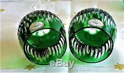 Ajka Lead Crystal Emerald Green Cased Cut To Clear Wine Hocks, Set Of 6, Signed