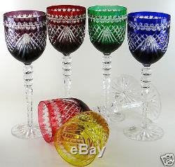 Ajka Majestic Wine Glass Goblets 9.5h, Multi-color Cased Cut Clear Crystal Nib