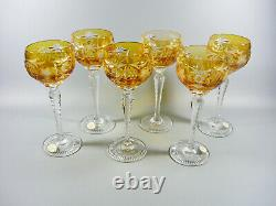 Ajka Marsala Amber Gold Cut To Clear Crystal Wine Bock Glass Set Of 6