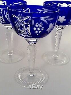 Ajka Marsala Bohemian Cut To Clear Crystal Wine Hock /goblet Cobalt Blue. Four